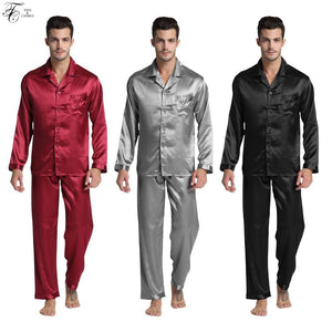 New Arrival Men's Stain Silk Pajamas Set Modern Style Silk Nightgown Men Satin Sleepwear Soft Cozy.