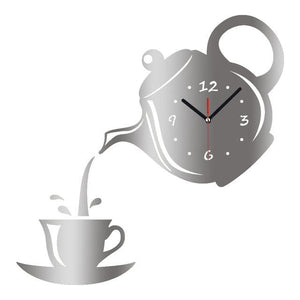 New Arrival Wall Clock Mirror Effect Coffee Cup Shape Decorative Kitchen Wall Clocks Living Room Black