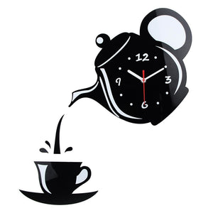 New Arrival Wall Clock Mirror Effect Coffee Cup Shape Decorative Kitchen Wall Clocks Living Room