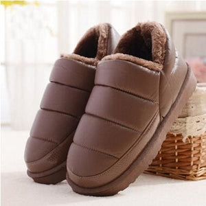 New Arrival Waterproof Women Pu Leather Snow Boots Warm Short Plush Ankle Boot Female Winter Shoes Brown / 9.5