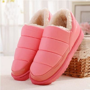 New Arrival Waterproof Women Pu Leather Snow Boots Warm Short Plush Ankle Boot Female Winter Shoes Pink / 4.5