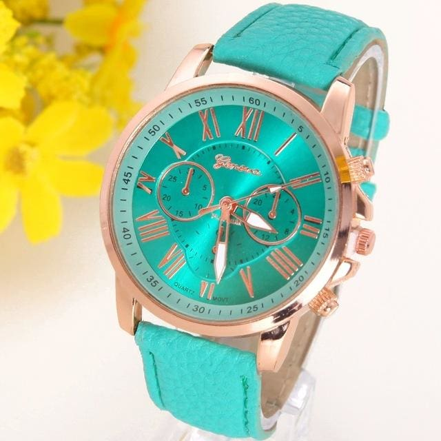 New Best Quality Geneva Platinum Watch Women Pu Leather Wristwatch Casual Dress Reloj Ladies Gold Mint Green