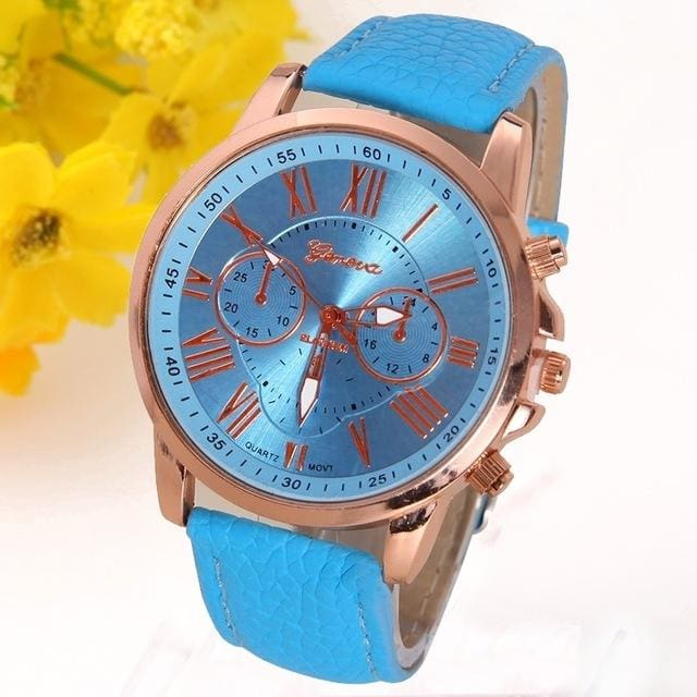 New Best Quality Geneva Platinum Watch Women Pu Leather Wristwatch Casual Dress Reloj Ladies Gold Light Blue