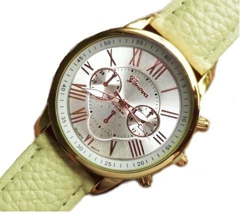 New Best Quality Geneva Platinum Watch Women Pu Leather Wristwatch Casual Dress Reloj Ladies Gold Ivory