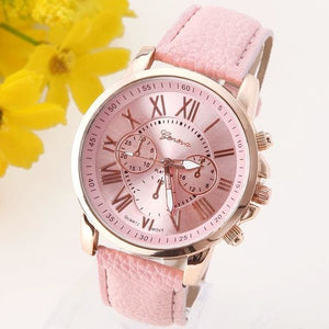 New Best Quality Geneva Platinum Watch Women Pu Leather Wristwatch Casual Dress Reloj Ladies Gold Pink