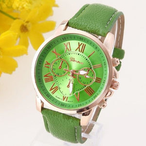 New Best Quality Geneva Platinum Watch Women Pu Leather Wristwatch Casual Dress Reloj Ladies Gold Green