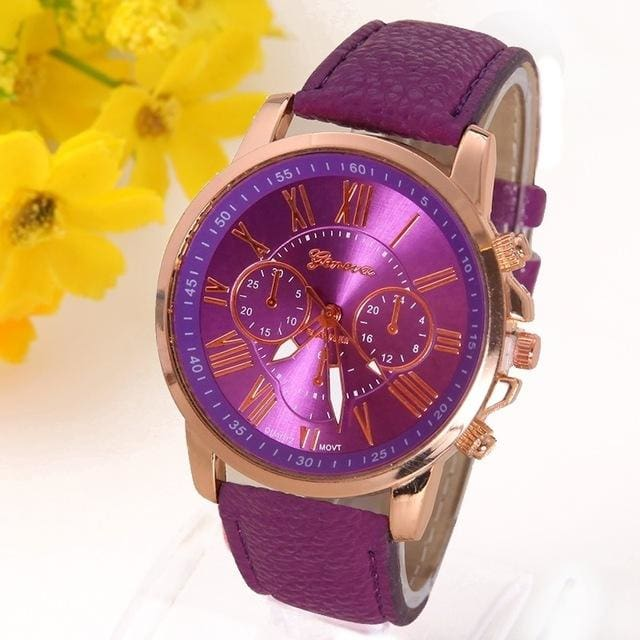 New Best Quality Geneva Platinum Watch Women Pu Leather Wristwatch Casual Dress Reloj Ladies Gold Purple