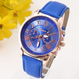 New Best Quality Geneva Platinum Watch Women Pu Leather Wristwatch Casual Dress Reloj Ladies Gold Blue