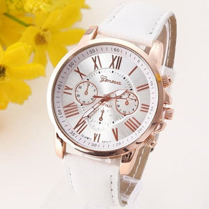 New Best Quality Geneva Platinum Watch Women Pu Leather Wristwatch Casual Dress Reloj Ladies Gold White