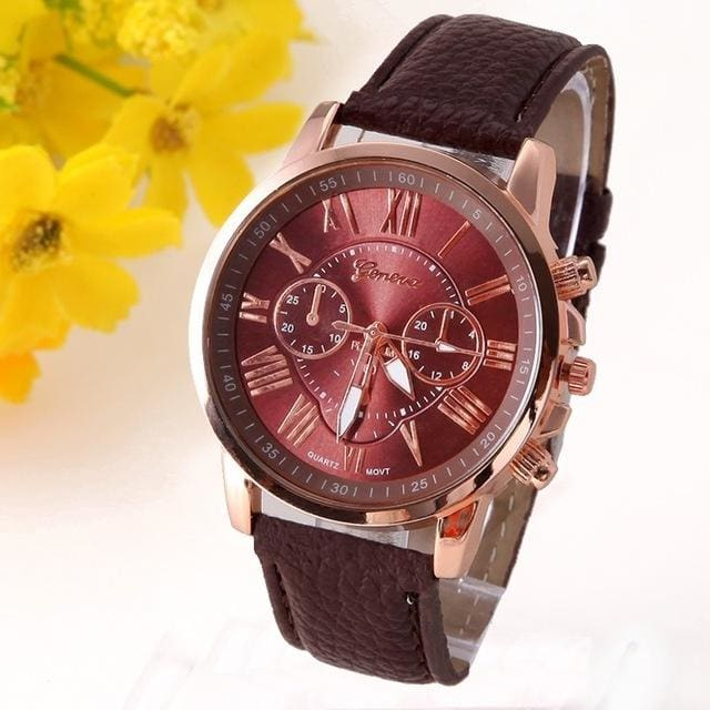 New Best Quality Geneva Platinum Watch Women Pu Leather Wristwatch Casual Dress Reloj Ladies Gold Brown