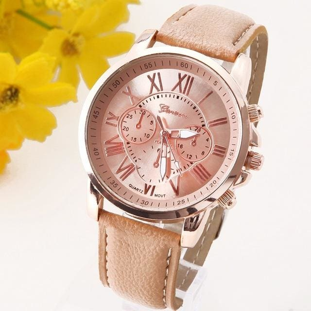 New Best Quality Geneva Platinum Watch Women Pu Leather Wristwatch Casual Dress Reloj Ladies Gold Beige