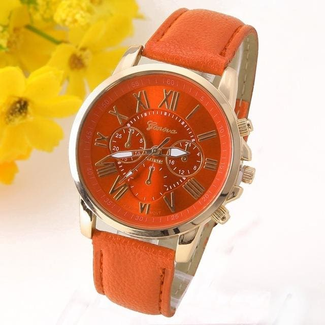 New Best Quality Geneva Platinum Watch Women Pu Leather Wristwatch Casual Dress Reloj Ladies Gold Orange