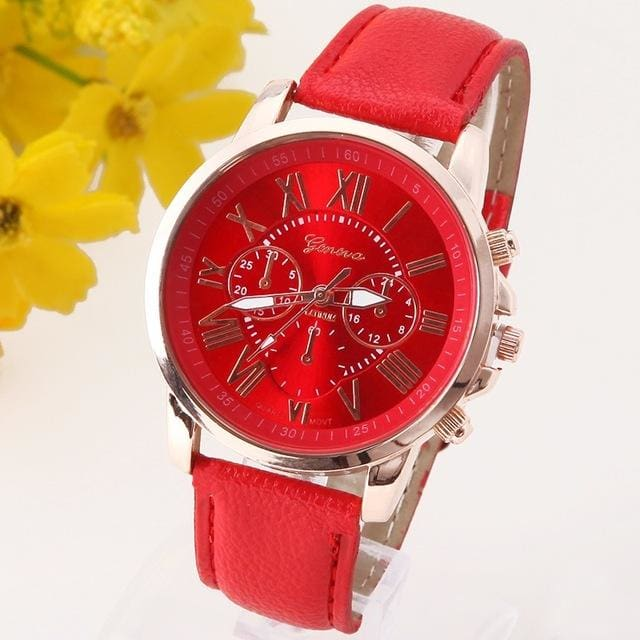 New Best Quality Geneva Platinum Watch Women Pu Leather Wristwatch Casual Dress Reloj Ladies Gold Red
