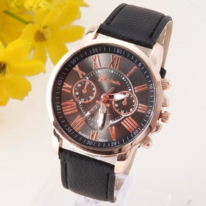 New Best Quality Geneva Platinum Watch Women Pu Leather Wristwatch Casual Dress Reloj Ladies Gold Black