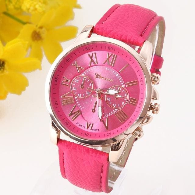 New Best Quality Geneva Platinum Watch Women Pu Leather Wristwatch Casual Dress Reloj Ladies Gold Hot Pink