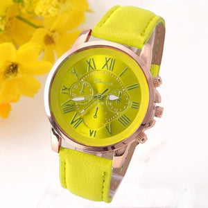 New Best Quality Geneva Platinum Watch Women Pu Leather Wristwatch Casual Dress Reloj Ladies Gold Yellow