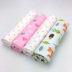 NEW color 4pcs/pack 100%cotton flannel baby blanket  receiving newborn colorful cobertor baby - MBMCITY