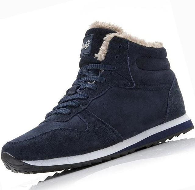 New Couple Unisex Super Warm Man Boot Fashion Men Winter Snow Boots Keep Warm Boots Plush Ankle Work Blue / 5.5