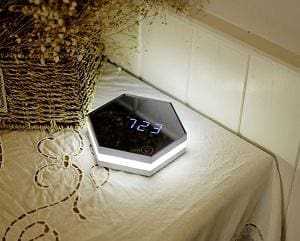 New Electronic Multifunction LED Night Light Wall Clock Mirror Digital Display Alarm Clock Snooze Silver as pic