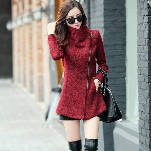 New Europe 2018 Autumn Winter Womens Temperament Woolen Jackets Coats Female Casual Clothing Wine Red / S