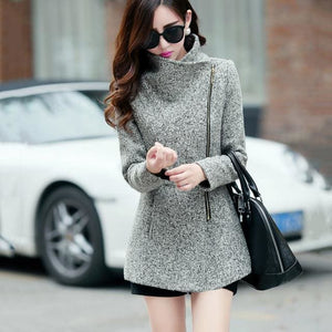 New Europe 2018 Autumn Winter Womens Temperament Woolen Jackets Coats Female Casual Clothing Light Grey / S