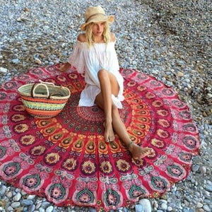 New European Rayon Printing Circular Beach Mat Yoga Blankets Yoga Mat Sand Cloth Shawl Towel Bikini Purple