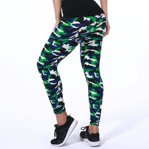 New Fashion 2018 Camouflage Printing Elasticity Leggings Green/Blue/Gray Camouflage Fitness Pant 02 / One Size