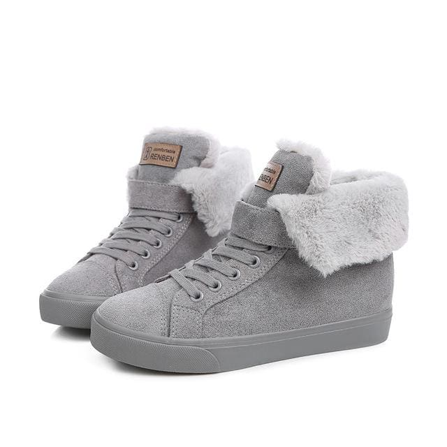 New Fashion Fur Female Warm Ankle Boots Women Boots Snow Boots And Autumn Winter Women Shoes Gray A / 37