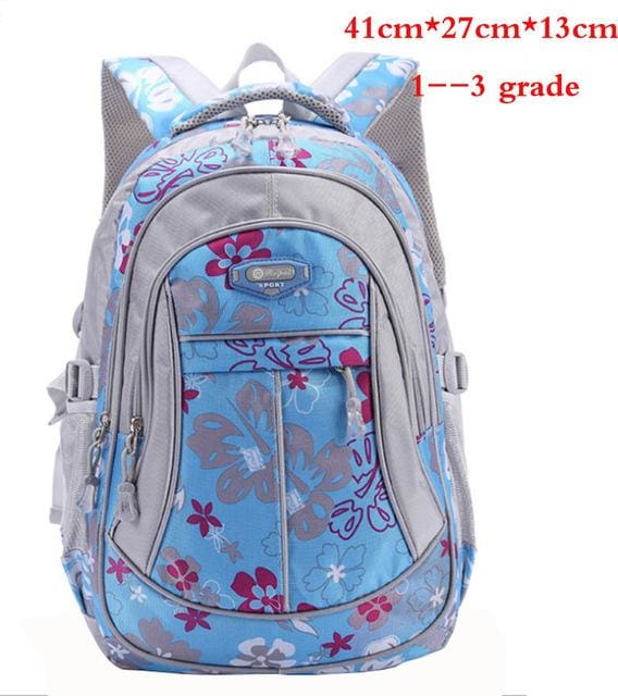 New Floral Printing Children School Bags Backpack For Teenage Girls Boys Teenagers Trendy kids Book Blue small