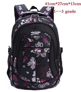 New Floral Printing Children School Bags Backpack For Teenage Girls Boys Teenagers Trendy kids Book Black small