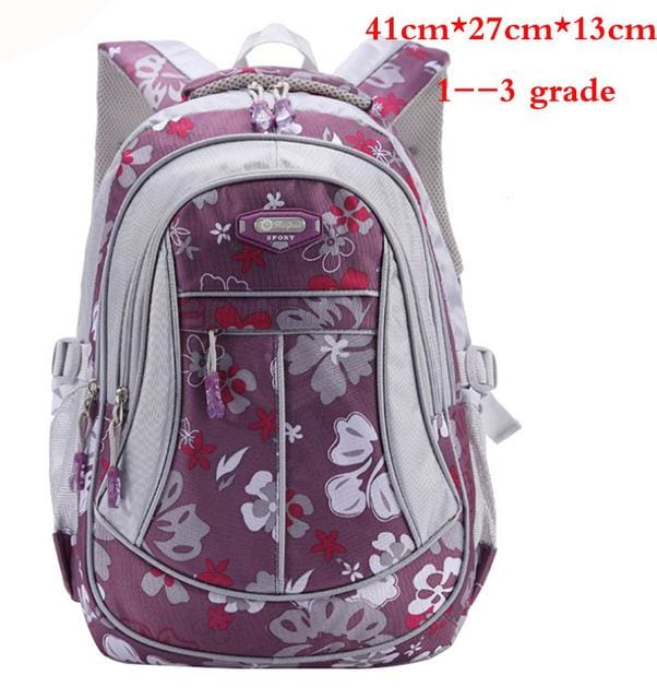 New Floral Printing Children School Bags Backpack For Teenage Girls Boys Teenagers Trendy kids Book Purple small