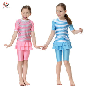 New Girls Muslim Swimwears Swim Shorts Two-piece Swimsuits Islamic Children Arab Islam Beach Wear.