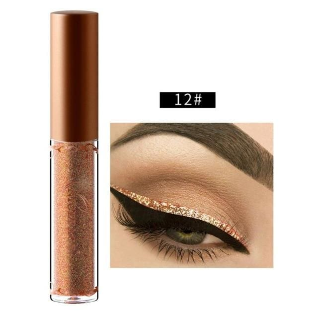New Golden Shimmer Makeup Liquid Eyeliner Metallic 12 Colors Glitter Eyeliner Make Up Diomand 12