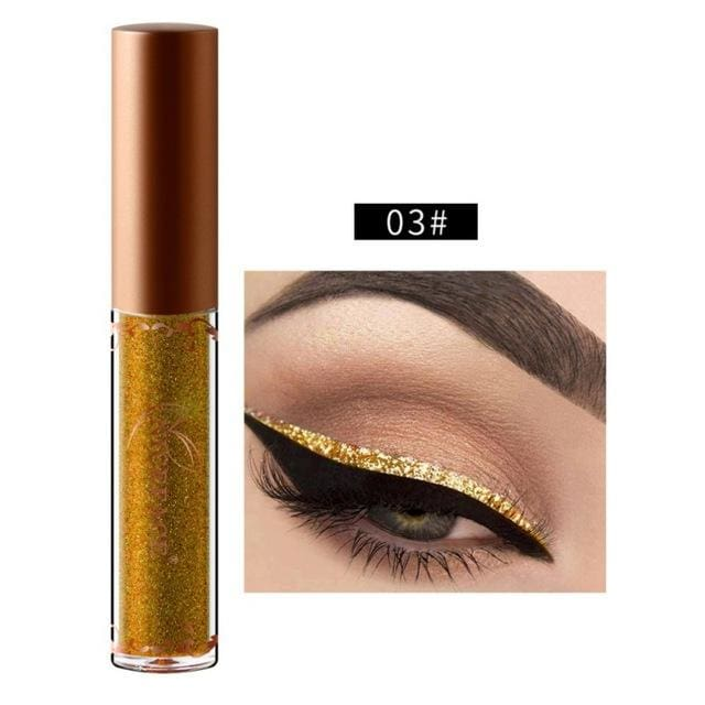 New Golden Shimmer Makeup Liquid Eyeliner Metallic 12 Colors Glitter Eyeliner Make Up Diomand 03