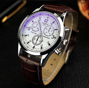 New Listing Yazole Men Watch Luxury Brand Watches Quartz Clock Fashion Leather Belts Watch Cheap Brown White