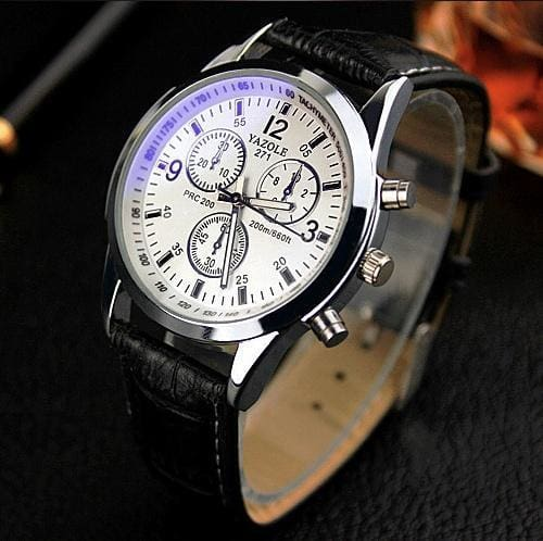 New Listing Yazole Men Watch Luxury Brand Watches Quartz Clock Fashion Leather Belts Watch Cheap Black White