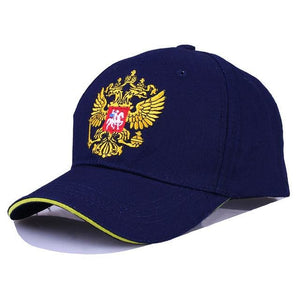 New Neutral Cotton Outdoor Baseball Cap Russia Badge Embroidery Snapback Fashion Sports Hat Men and Blue