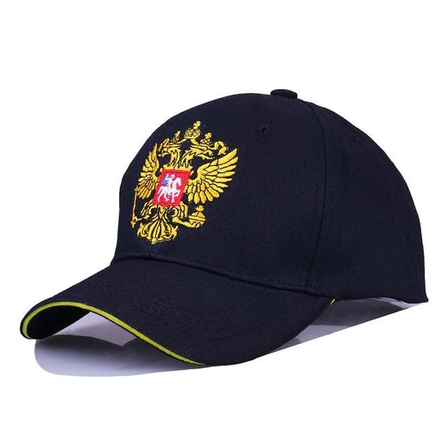 New Neutral Cotton Outdoor Baseball Cap Russia Badge Embroidery Snapback Fashion Sports Hat Men and Black