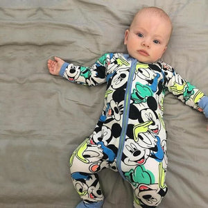 New Retail 2018 New Newborn Infants Baby Boy And Girl Wear Mickey Even Climb Clothes Conjoined Ha Blue / 3M