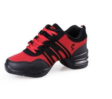 New Soft Outsole Breath Dance Shoes Women Sports Feature Dance Sneakers Jazz Hip Hop Shoes Woman black red / 6