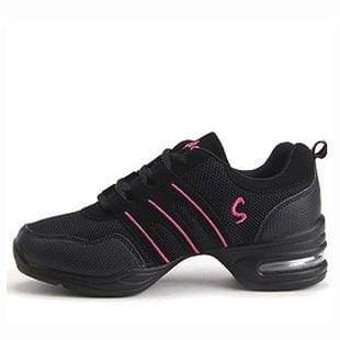 New Soft Outsole Breath Dance Shoes Women Sports Feature Dance Sneakers Jazz Hip Hop Shoes Woman black pink / 6