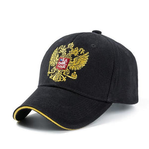 New Unisex 100% Cotton Outdoor Baseball Cap Russian Emblem Embroidery Snapback Fashion Sports Hats Black