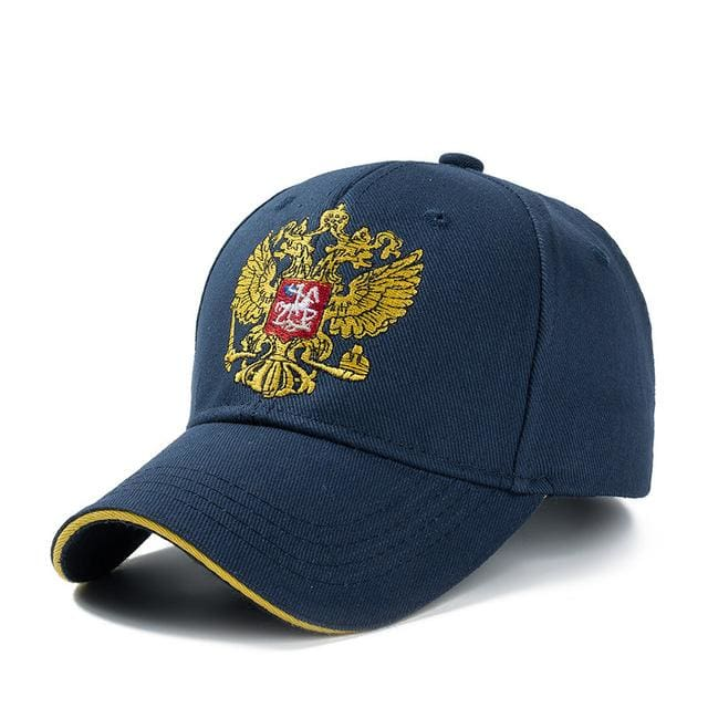 New Unisex 100% Cotton Outdoor Baseball Cap Russian Emblem Embroidery Snapback Fashion Sports Hats Navy Blue