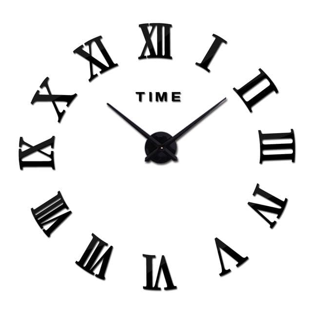 New Wall Clock Watch Clocks Reloj De Pared Home Decoration 3D Acrylic Special Diy Sticker Living Black / 47Inch