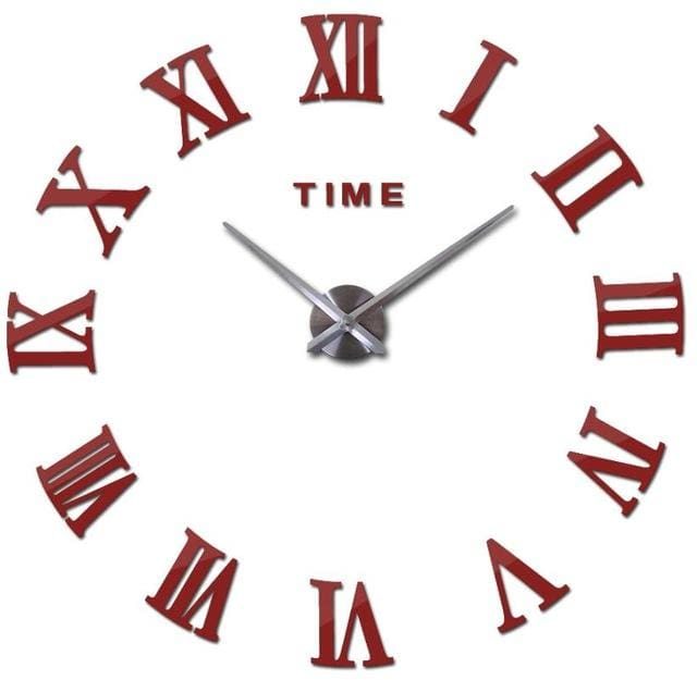 New Wall Clock Watch Clocks Reloj De Pared Home Decoration 3D Acrylic Special Diy Sticker Living Red / 47Inch