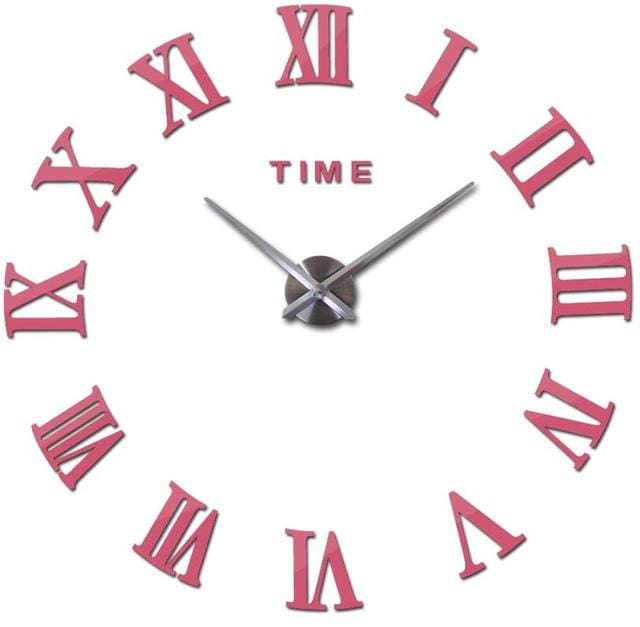 New Wall Clock Watch Clocks Reloj De Pared Home Decoration 3D Acrylic Special Diy Sticker Living Pink / 47Inch