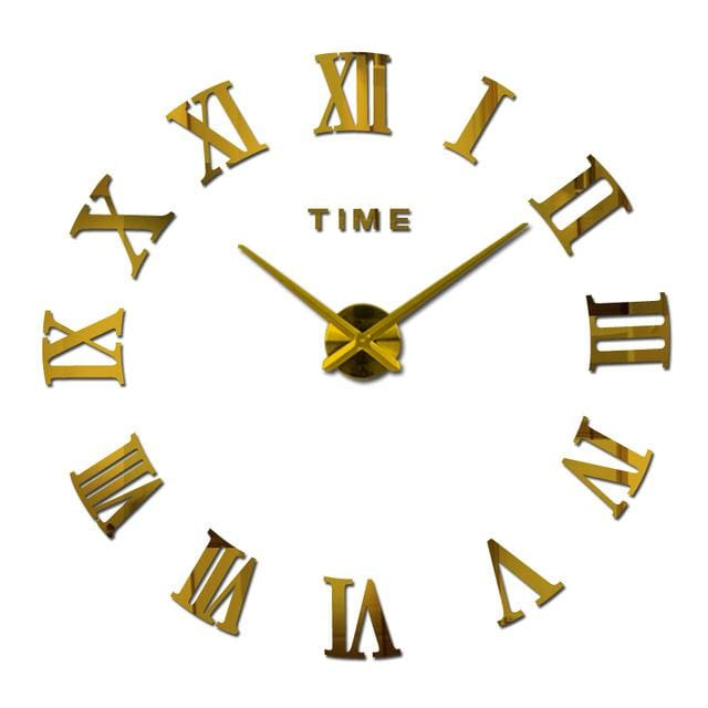 New Wall Clock Watch Clocks Reloj De Pared Home Decoration 3D Acrylic Special Diy Sticker Living Gold / 47Inch