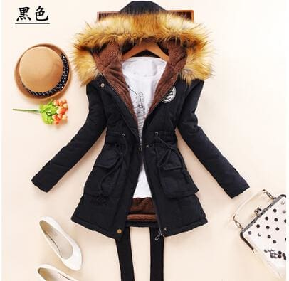 new winter military coats women cotton wadded hooded jacket medium-long casual parka thickness plus black / S