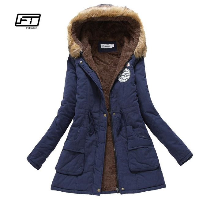 new winter military coats women cotton wadded hooded jacket medium-long casual parka thickness plus - MBMCITY