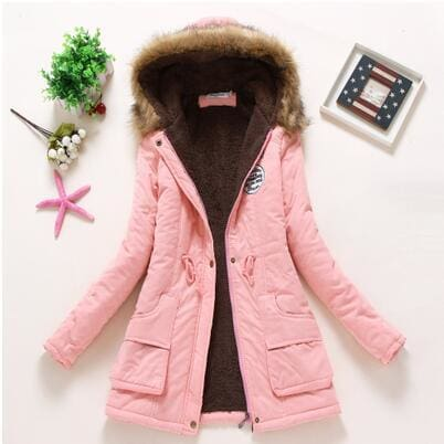 new winter military coats women cotton wadded hooded jacket medium-long casual parka thickness plus pink / S